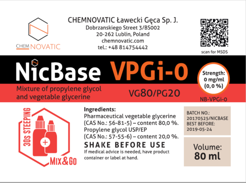 Nic Base VPGi-0 80/20 - 80ml (em garrafa de 120ml MIX & GO) - Chemnovatic