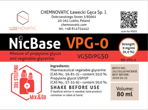Nic Base VPG-0 50/50 - 80ml (em garrafa de 120ml MIX & GO) - Chemnovatic