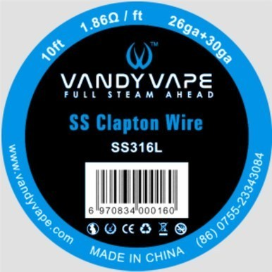 SS316 Clapton Wire - 26GA + 30GA 3m (10feet) by Vandy Vape