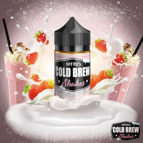 Nitro's Cold Brew SHAKES Strawberi & Cream- 100ml em Unicorn bottle 120ml 0mg