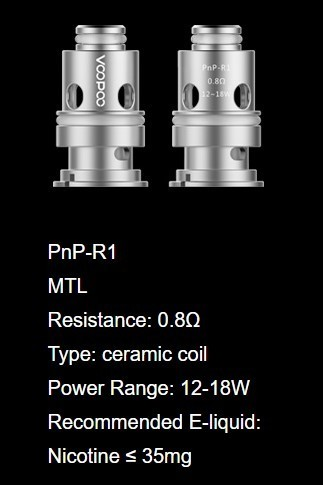 PnP-R1 MTL Coil 0,8 Ohm by Voopoo - Pack 5 uni
